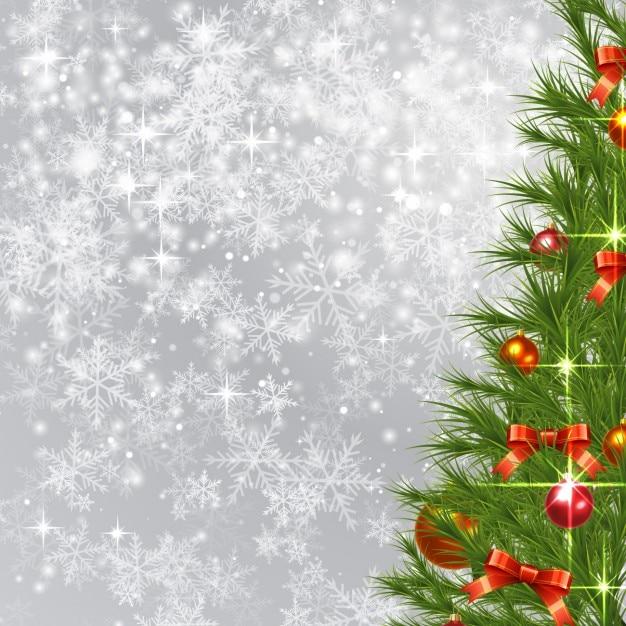 Glitzernde Hintergrund mit Weihnachtsbaum Kostenlose Vektoren