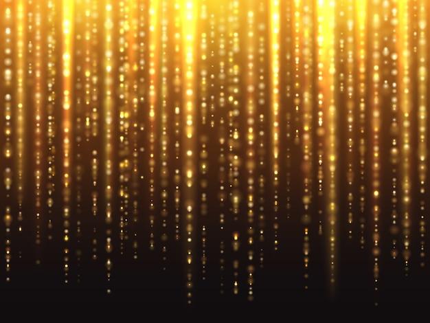 Glitzernder glitzereffekt mit herabfallendem hintergrund mit leuchtenden partikeln Premium Vektoren
