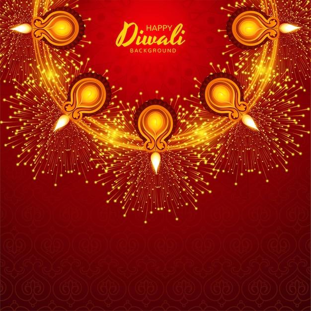 Glitzernder religiöser diwali festival schöner lampenhintergrund Kostenlosen Vektoren