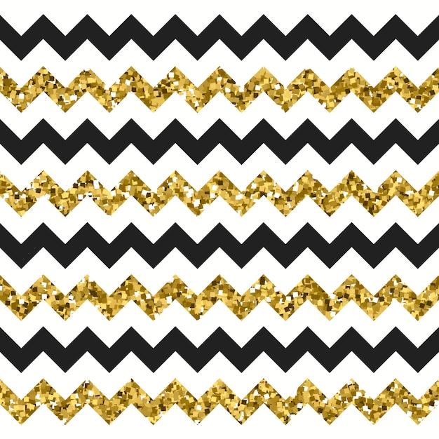 Glitzerndes gold chevron zickzack-muster Premium Vektoren