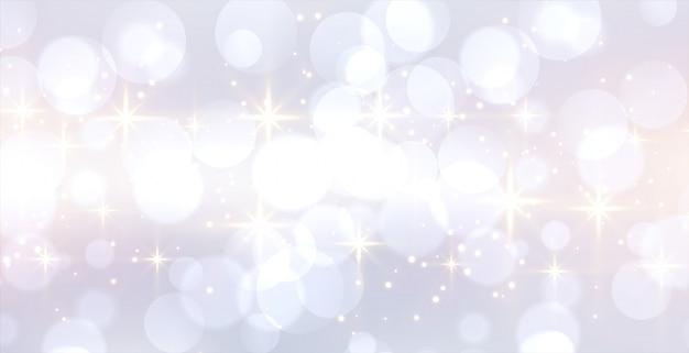 Glitzerndes weißes bokeh-banner mit textraum Kostenlosen Vektoren