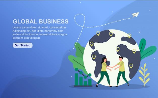 Global business landing page vorlage. Premium Vektoren
