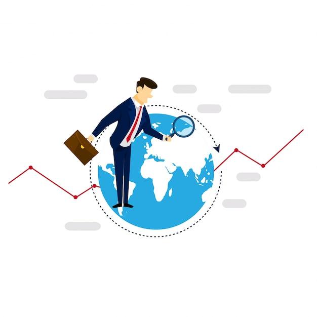 Global research geschäftsmann strategie illustration konzept Kostenlosen Vektoren