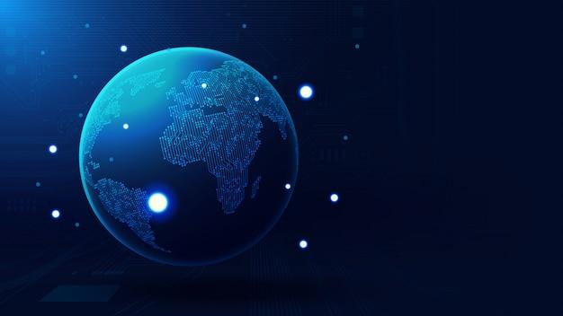 Globale erdkugel mit exemplar Premium Vektoren