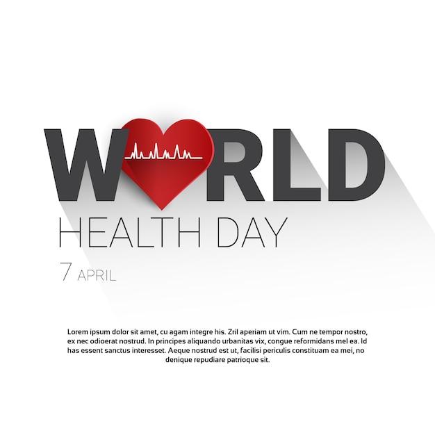Globale feiertags-fahne der erde-planeten-gesundheits-welttag mit kopien-raum Premium Vektoren