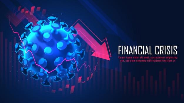 Globale finanzkrise durch grafisches konzept der virenpandemie Premium Vektoren