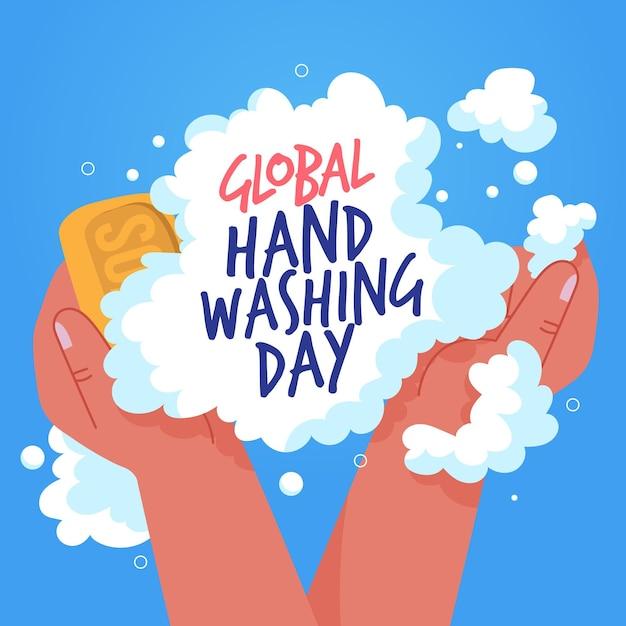 Globale handwäsche tag seife und schaum Premium Vektoren