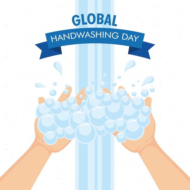 Globale handwasch-tageskampagne mit händen und schaum im bandrahmenillustrationsdesign Premium Vektoren