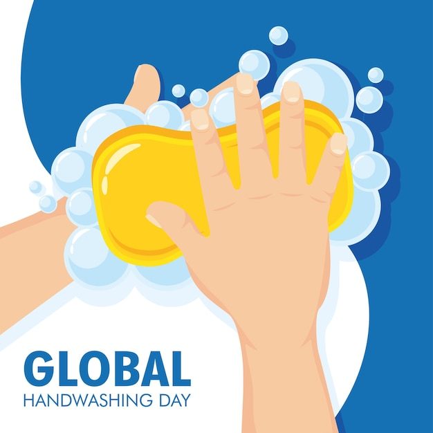 Globale handwasch-tageskampagne mit seifenstück und schaumillustrationsdesign Premium Vektoren