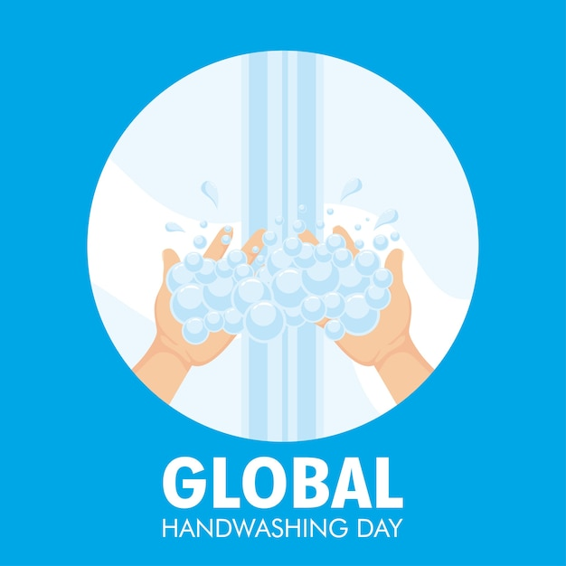 Globale handwasch-tageskampagne mit wasser und schaum im kreisförmigen rahmenillustrationsdesign Premium Vektoren