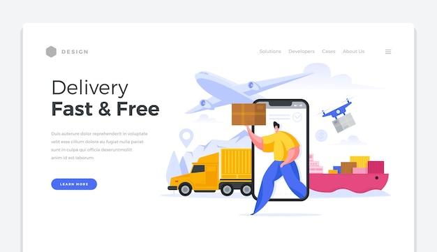 Globale homepage-vorlage für schnellen und kostenlosen versand. hochwertige online-logistiklieferwaren auf der ganzen welt. hochgeschwindigkeits-internationale verteilung warenversand kundenpostämtervektorbanner. Premium Vektoren