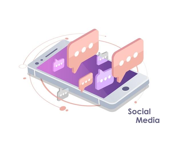 Globale kommunikation, e-mailing, web-anrufe isometrisch Premium Vektoren