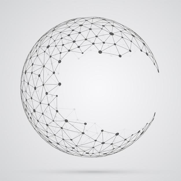 Globale maschenkugel, abstrakte geometrische form mit kugelförmigem seve Premium Vektoren