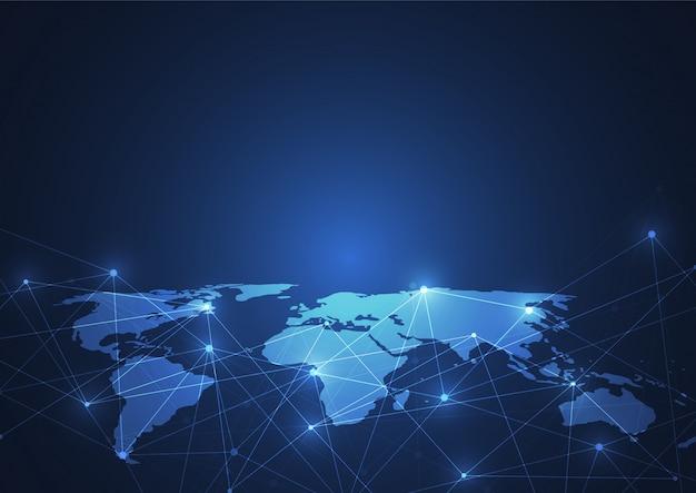 Globale netzwerkverbindung. weltkarte punkt und linie Premium Vektoren
