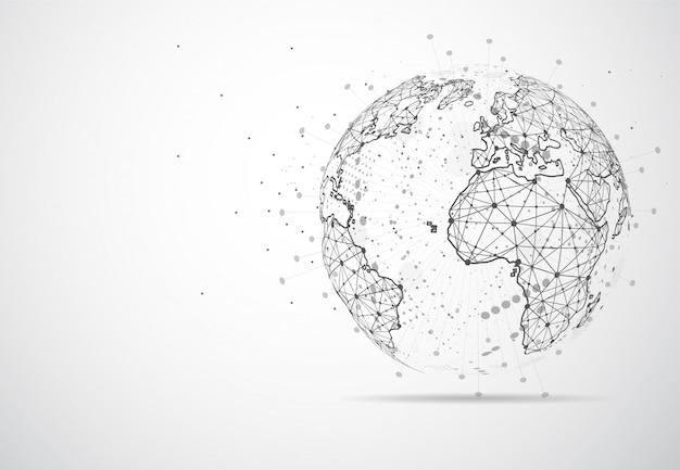Globale netzwerkverbindung. weltkarte punkt Premium Vektoren