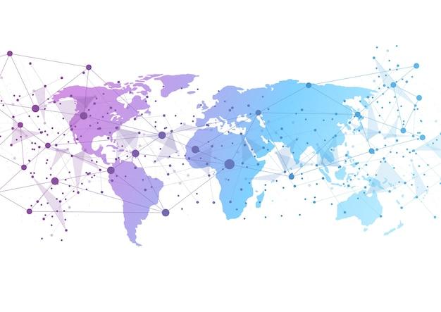 Globale netzwerkverbindung weltkarte punkt Premium Vektoren