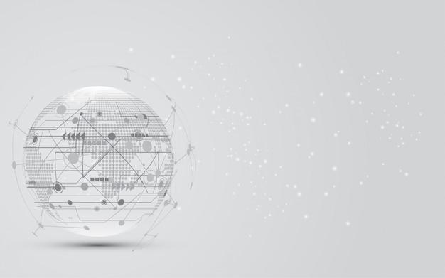 Globale netzwerkverbindung weltkarten-zusammenfassungs-technologiehintergrund Premium Vektoren