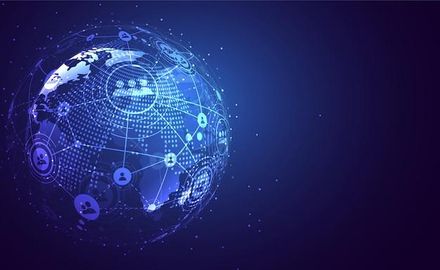 Globale netzwerkverbindung. weltkartenpunkt- und linienkompositionskonzept Premium Vektoren