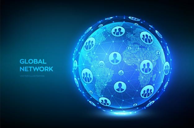 Globale netzwerkverbindung. weltkartenpunkt- und linienzusammensetzung. erdkugel. Premium Vektoren