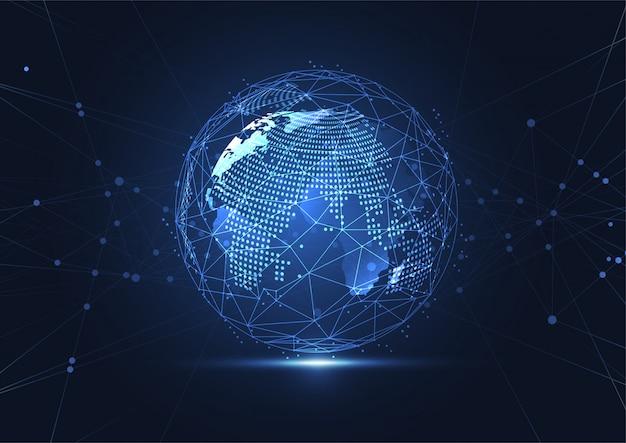 Globale netzwerkverbindung. weltkartenpunkt- und linienzusammensetzung Premium Vektoren