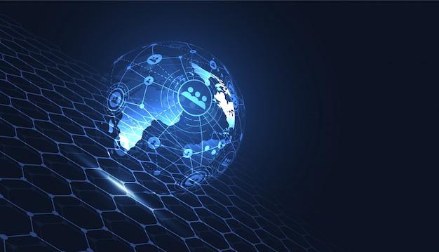 Globale netzwerkverbindung. weltkartenpunkt Premium Vektoren
