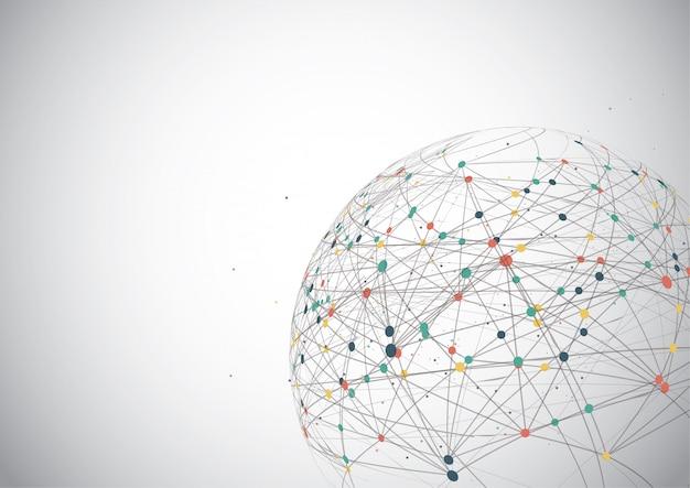 Globale netzwerkverbindung, weltkartenpunkt Premium Vektoren