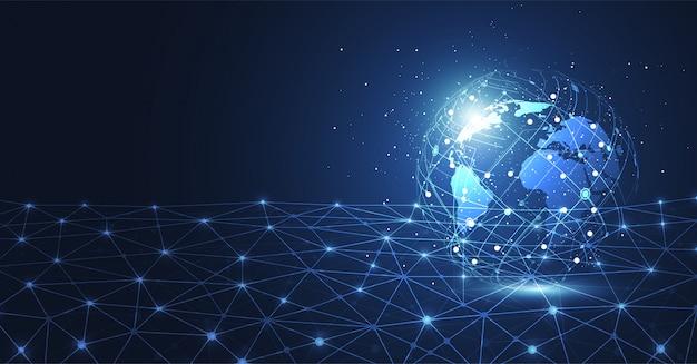 Globale netzwerkverbindung. Premium Vektoren