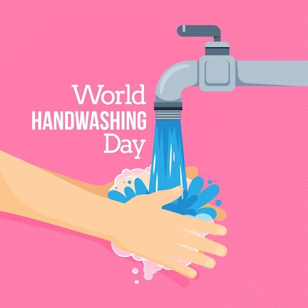 Globaler handwasch-tagesstil Premium Vektoren