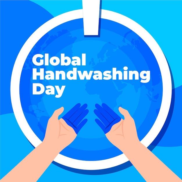 Globaler handwaschtag mit flachem design mit händen und waschbecken Kostenlosen Vektoren