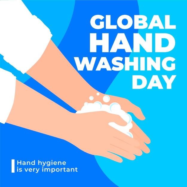 Globaler handwaschtag mit flachem design mit händen Kostenlosen Vektoren