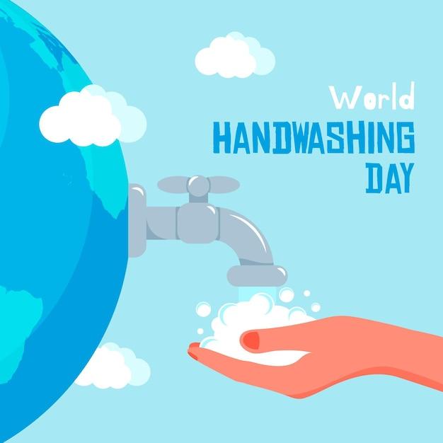 Globaler handwaschtag mit flachem design Premium Vektoren