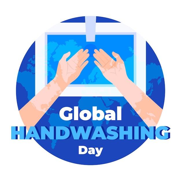 Globaler handwaschtag mit händen und waschbecken Kostenlosen Vektoren