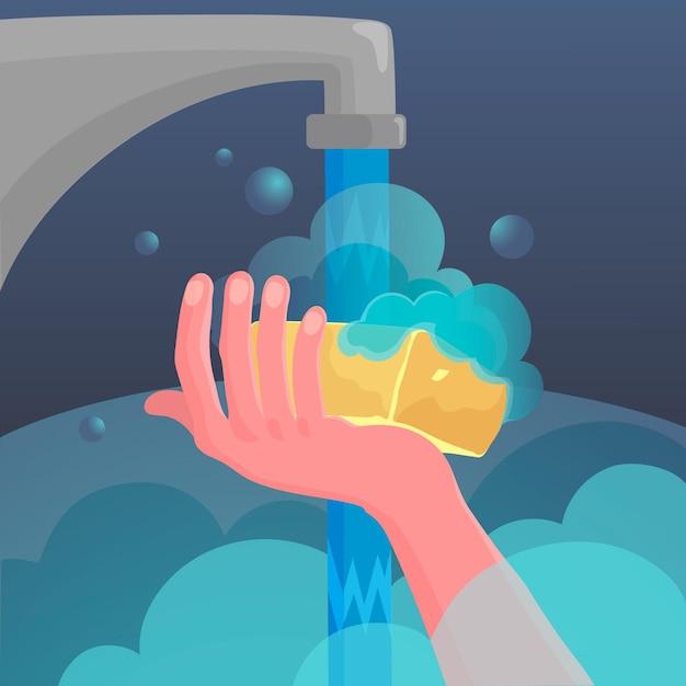 Globaler handwaschtag mit händen und wasserhahn Kostenlosen Vektoren
