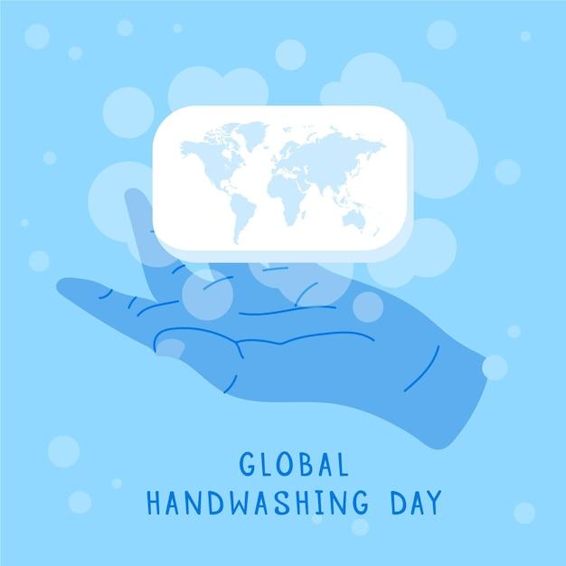 Globaler handwaschtaghintergrund des flachen designs mit händen und seifenstück Premium Vektoren