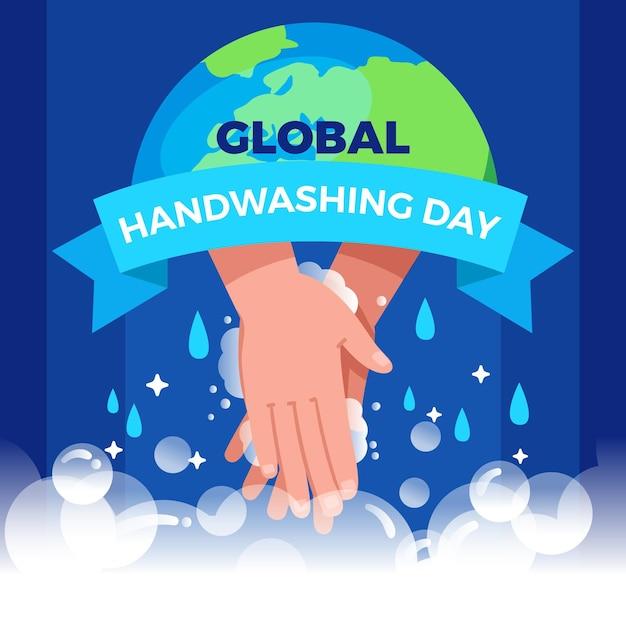Globaler handwaschtaghintergrund des flachen entwurfs mit händen und globus Premium Vektoren