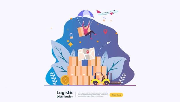 Globaler logistikvertriebsservice und weltweiter versandbanner mit menschencharakter Premium Vektoren
