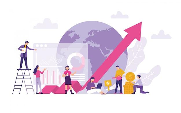 Globales handels- und investitionswachstum, finanzen, wirtschaftlichkeit und geschäftswert Premium Vektoren