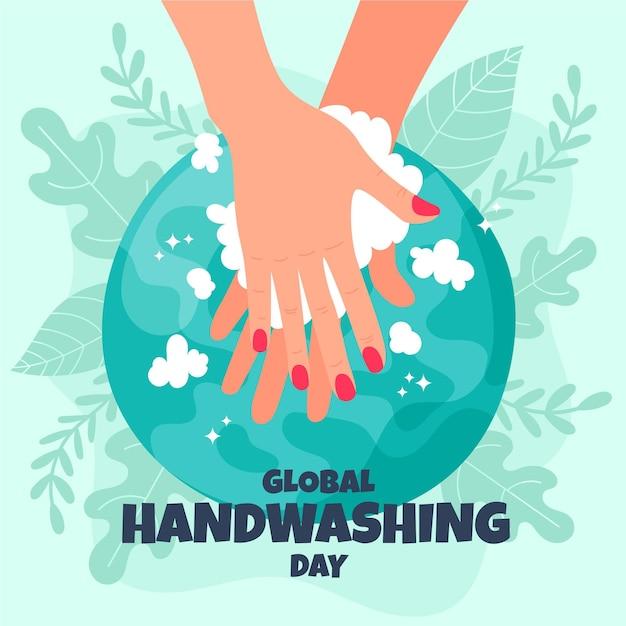 Globales handwasch-tagesdesign Kostenlosen Vektoren