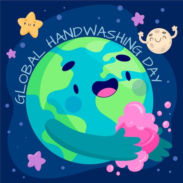Globales handwasch-tagesdesign Premium Vektoren