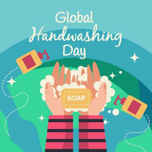Globales handwasch-tageskonzept Kostenlosen Vektoren