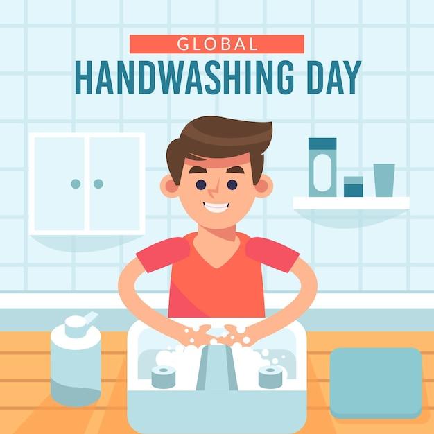 Globales handwaschtagsthema Kostenlosen Vektoren