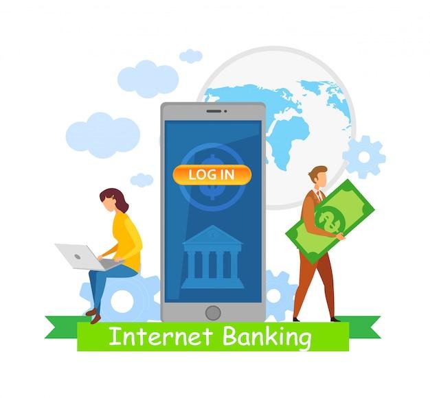 Globales internet-banking f Premium Vektoren