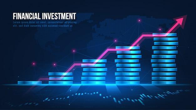 Globales konzept für das wachstum von finanzinvestitionen Premium Vektoren