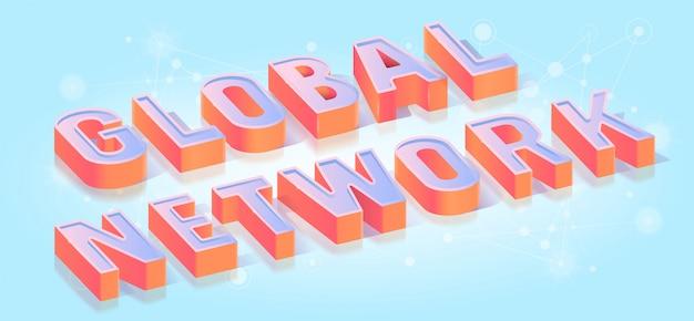 Globales netzwerk titel isometrisch Premium Vektoren