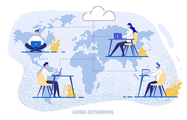 Globales outsourcing, menschen mit cloud-system Premium Vektoren