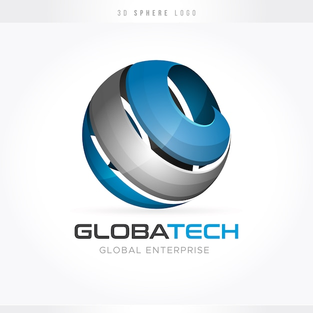 Globales tech-logo Premium Vektoren