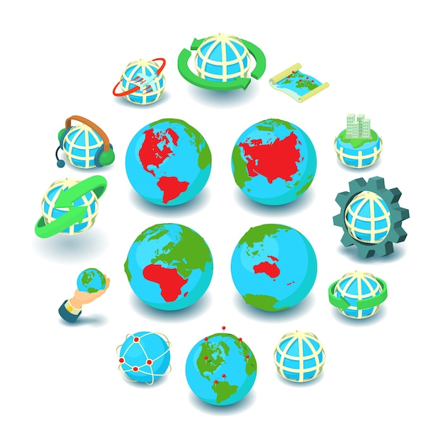 Globalisierungsikonen eingestellt, karikaturart Premium Vektoren