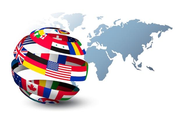 Globus aus flaggen auf einer weltkarte Premium Vektoren