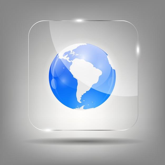 Globus-symbol auf kristall Premium Vektoren