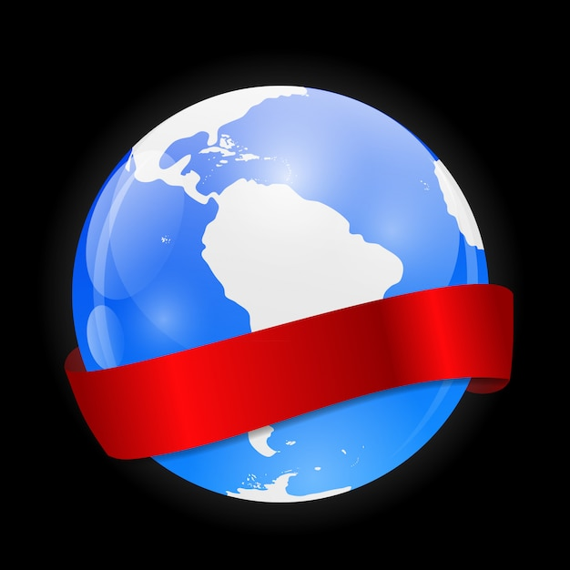 Globus-symbol mit roter schleife Premium Vektoren